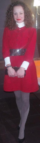 A wintery red dress look for Christmas