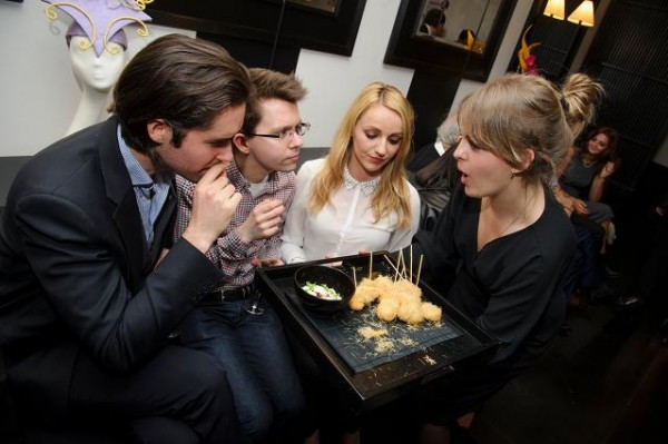 Team from ITN enjoying canapes at La Suite West