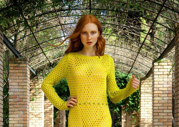 Eleni Kyriacou Sacred Lotus Yellow Knit dress