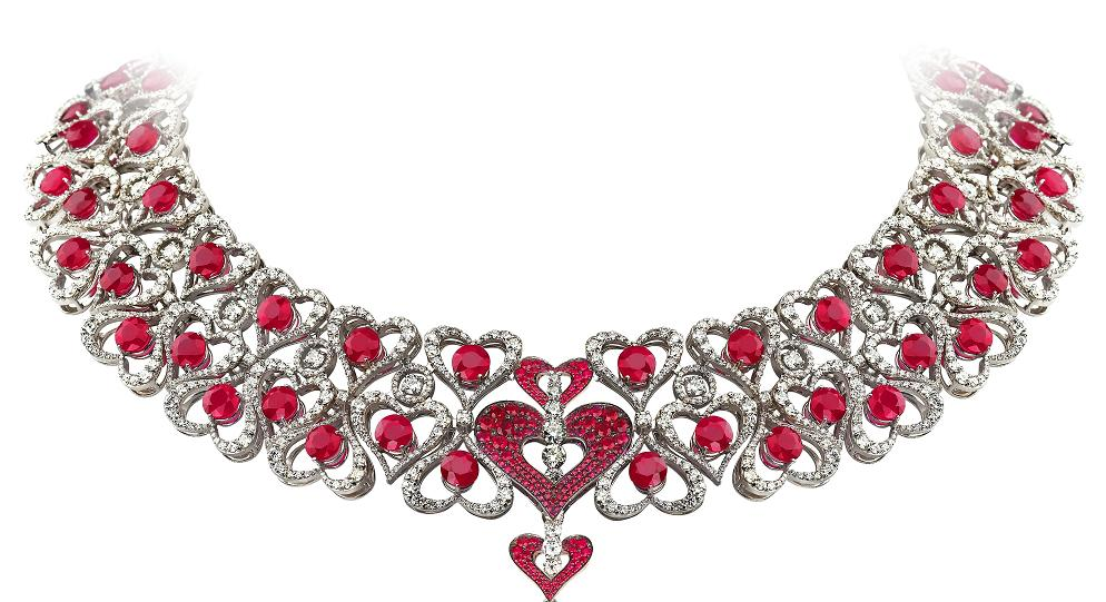 Avakian hearts diamonds and rubies necklace