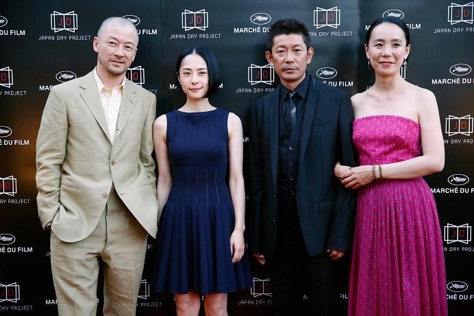 Actors Tadanabu Asano, Eri Fukatsu, Matasatoshi Nagase and Naomi Kawase attend the Japan Day Project Party during the 68th annual Cannes Film Festival on May 18, 2015 in Cannes, France. (Photo by Tristan Fewings/Getty Images for Japan Day Project)