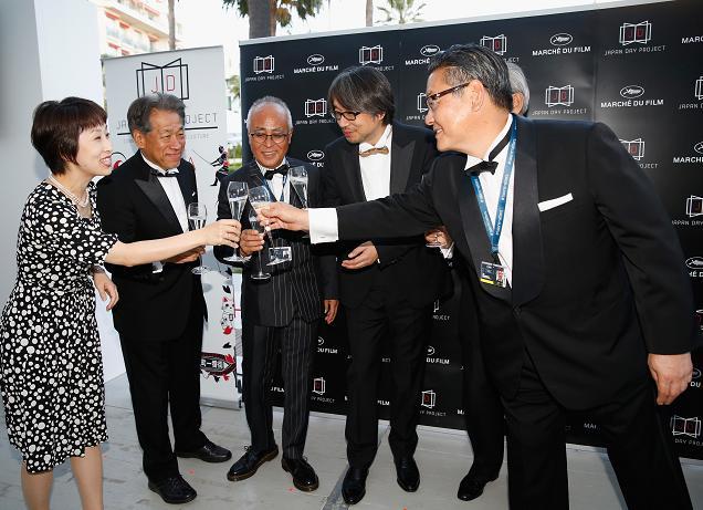 Kyoko Kashiwabara, Yasushi Shiina, Yokichi Osato, Kundo Koyama, Tom Yoda, Jay Sakomoto, Tsuguhiko Kadokawa and Yoshishige Shimatani attend the Japan Day Project Party during the 68th annual Cannes Film Festival on May 18, 2015 in Cannes, France. (Photo by Tristan Fewings/Getty Images for Japan Day Project)