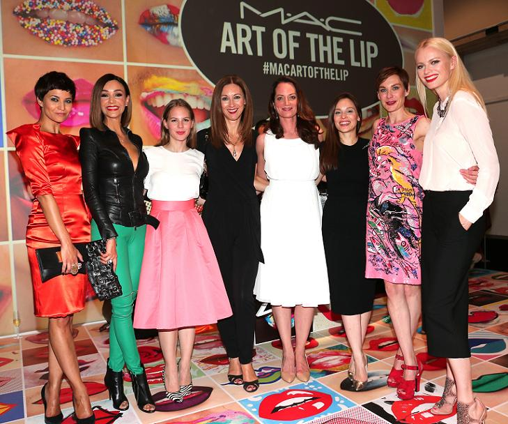 MUNICH, GERMANY - JUNE 24: Najet el Kamel, Verona Pooth, Alicia von Rittberg, Gabriele Medingdoerfer, General Director M.A.C. Cosmetics, Natalia Woerner, Mina Tander, Christiane Paul, Franziska Knuppe during the presentation of 'Art of the Lip' by MAC Cosmetics at Haus der Kunst on June 24, 2015 in Munich, Germany. (Photo by Gisela Schober/Getty Images)