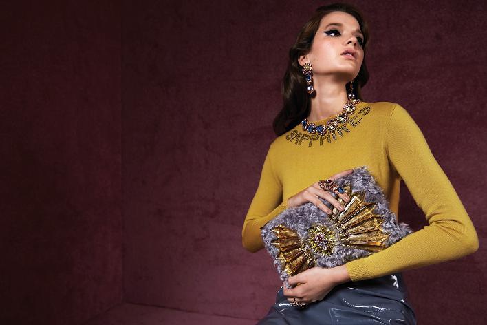 MAWI Rebel Royal jewelry, knit top and handbag