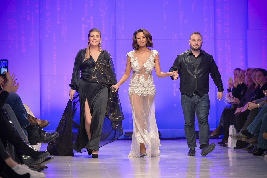 ATHENS BRIDAL FASHION WEEK - POP SINGER SHAYA WITH DESIGNERS ATHENA AND ANASTASIOS TRANOULIS