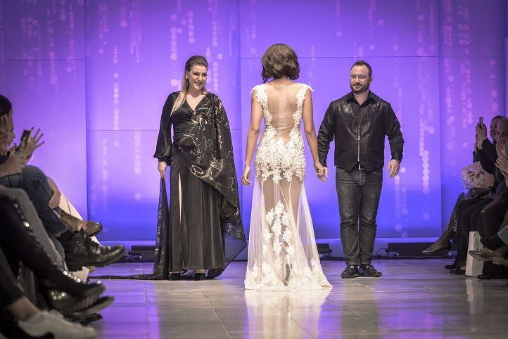 ATHENS BRIDAL FASHION WEEK - SINGER SHAYA WITH DESIGNERS ATHENA AND ANASTASIOS TRANOULIS