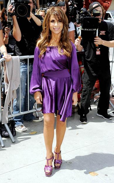 Paula Abdul in total purple – total YSL. Is it too much?