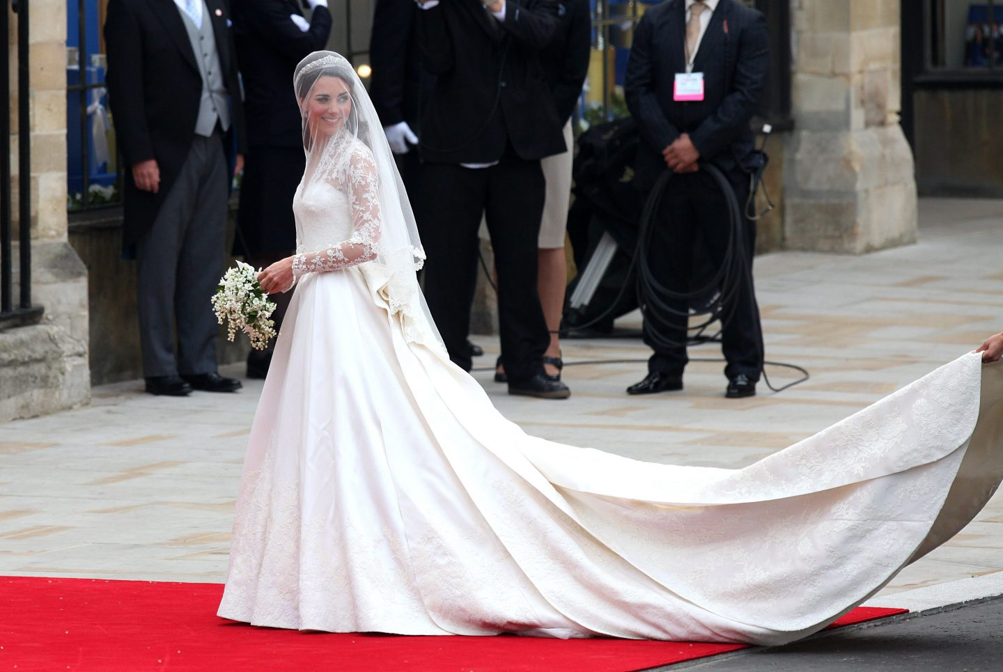 Princess Catherine's wedding dress displayed in Buckingham Palace