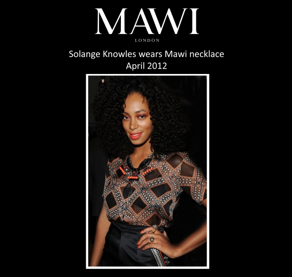 Celebrity fashion; Solange Knowles wears Mawi of London