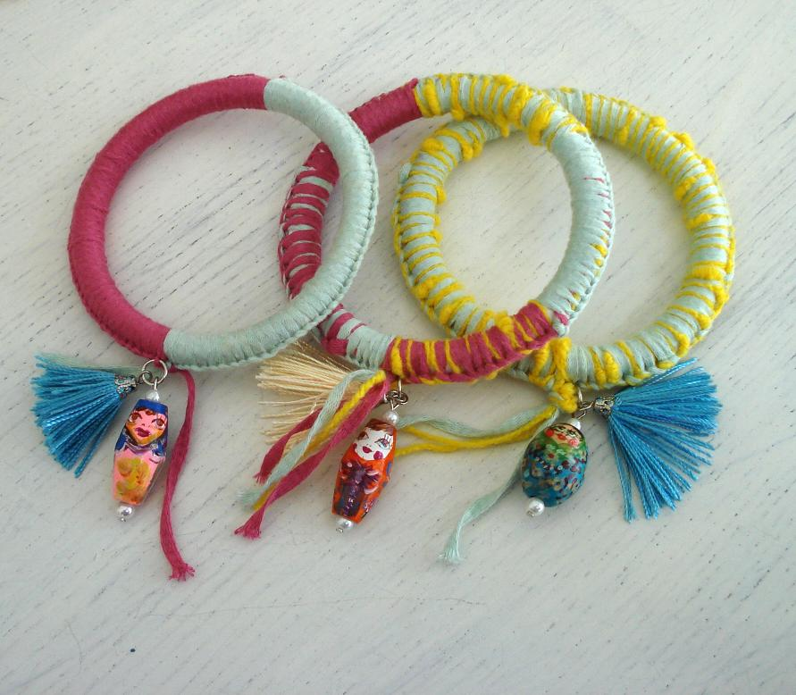 Recycled fabric bracelets with Babushka charms