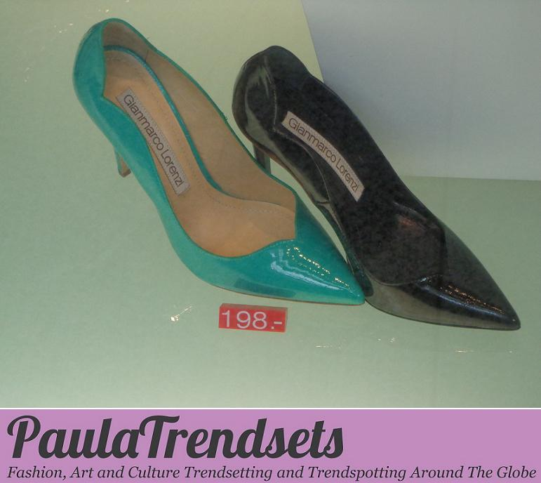 Coup de foudre: pointed patent pumps by Gianmarco Lorenzi