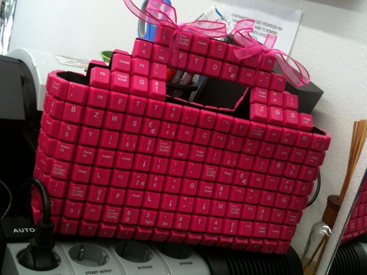 Pink Keyboard Handbag by Joao Sabino