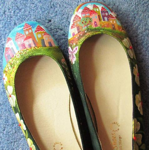 Colourful, hand-painted ballet flats